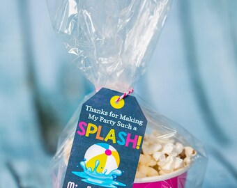 Pool Party Favor Tag - Printable Splish Splash Favor Tags by Printable Studio