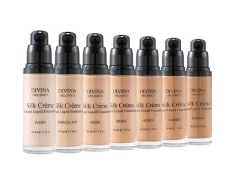 SILK CREME Natural Liquid Foundation, in 7 shades, with Vitamin E and Jojoba oil, Acne safe, Vegan, Cruelty-free
