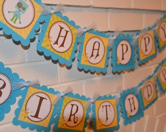 Robot banner, robot party, robot theme, robot happy birthday