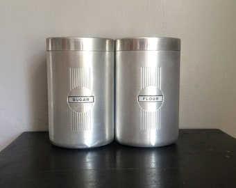 Vintage Aluminum Canisters Flour and Sugar Mid Century Mod Canister