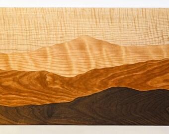 Mountain view cutting board /Tiger maple, Curly birch, Cherry, Black walnut/