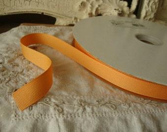 "light orange ribbon grosgrain ribbon destash 6 yards 5/8"" crafts supplies party gift wrap sherbert orange embellishments sewing trim"