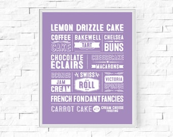 """Printable Great British Cakes & Baking Typography Print - Word Poster - Kitchen Decor - Instant Download - Wall Art - 8""""x10"""" and A4."""