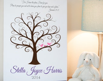 Baby Shower Guest Book, Baby Fingerprint Tree, Baby Shower Thumbprint Tree, Guestbook, Guest Book Alternative