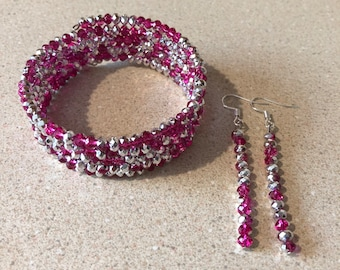 Pink silver crystal bead memory wire bracelet and matching earrings