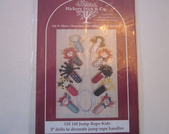 "Jump Rope Kids,5"" doll jump rope handle patterns, vintage, Hickory Stick & Co."