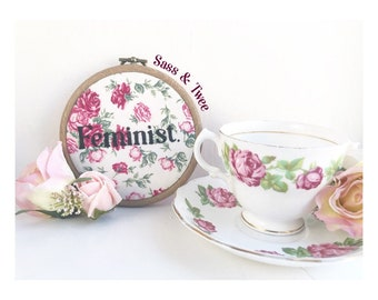 Feminist Embroidery Hoop Wall Art Girl Power Feminism Floral