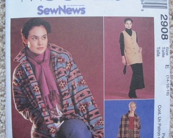 UNCUT Misses' /Miss Petite Unlined Jacket, Vest, Top, Pull-On Pants and Skirt - Size 14, 16, 18 - McCalls Pattern 2908