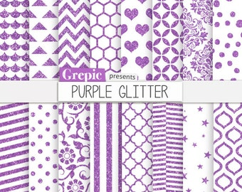 "SALE 50% Purple glitter digital paper: ""PURPLE GLITTER"" patterns backgrounds w/ sparkling chevron, polkadots, stripes, sparkles, q"