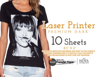 "Laser Iron-On Heat Transfer Paper, For Dark fabric, 8.5"" x 11"", 10 Sheets FREE shipping"