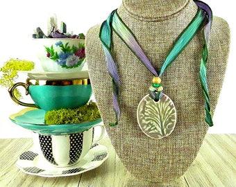 Morning Mist Ceramic Necklace: Lavender Petal Necklace/ Flower Necklace/ Fairy Necklace/ Garden Jewelry/ Handmade Necklace/ Bohemian Jewelry