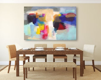 Large abstract painting blue, beige, yellow