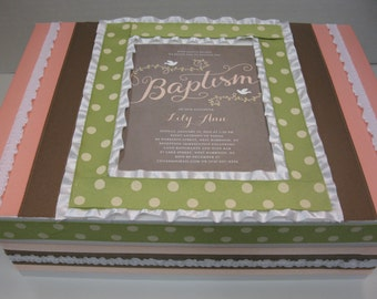 Girl Baptism or Christening - Pink and Black and White Damask