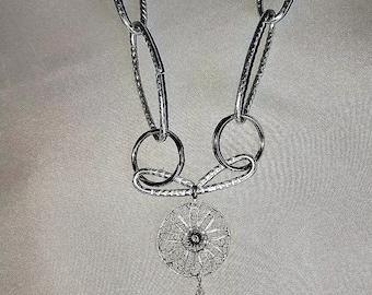 Necklace Aluminum Chain & Filigree Drop