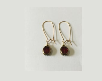 Translucent Red Drop Earrings