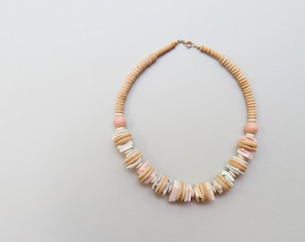 SALE Vintage 1970s necklace, tribal necklace, pastel necklace, beach necklace, bohemian necklace, shell necklace, 70s tribal jewelry