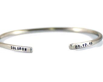 Personalized Cuff Bracelet. Stacking Bracelet. For Mom. Custom Bracelet. Gift for Her. Mothers Day Gift. Name Date Bracelet. Skinny Bracelet