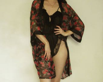 90s Sheer Rose Robe XS S