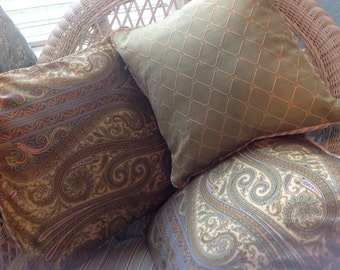 Pillow covers, green paisley, scroll stitch back,  leaf print, diamond stitch back, zip close, celery green, cream rope trim,