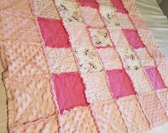 Pink and White flannel and Minky rag quilt