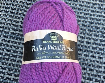 8023 - Dusty Violet - Coats and Clark - Royal Mouline - Bulky Wool Blend - Acrylic & Wool Blend - 75% Acrylic 25 Wool - 1 skein