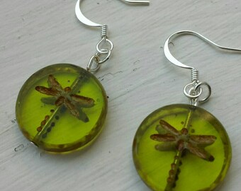 Green dragonfly Bead drop earrings