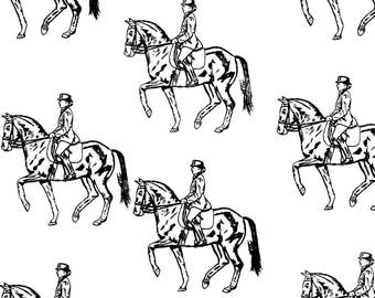 """Dressage Horse Fabric BEST All Cotton Ever""""Feels Like Silk""""Northcott Fabrics for Hot Diggity Dog Craft Supplies and Tools Fabrics"""