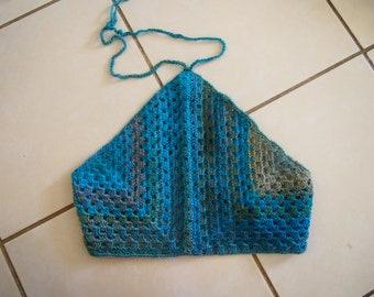 Handmade crochet 70s inspired halter top