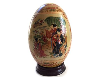 Large Japanese Porcelain Egg with Mother and Child on Stand Asian Art - Rare Find - Japanese Asian Collectibles