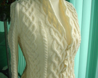 "Custom cabled knit cardigan - inspired by the movie ""The Holiday"""