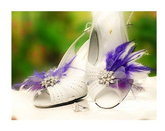 Shoe Clips Ivory & Royal Purple Feathers Rhinestone. Bride Bridal Bridesmaid, Couture Birthday Statement Boudoir Burlesque. Sparkly Crystals