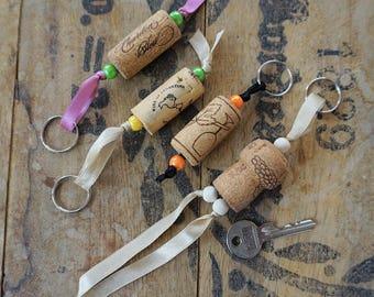 Floating Keyring, Cap of recycled Cork, Ribbon, beads