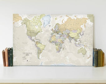 Classic Map of the World Canvas Print - free shipping, gift for him, gift for her, classic world map, world wall map, decor, push pin map