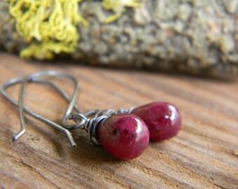 petite rustic ruby earrings - oxidized silver