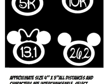 Disney Run Mickey and Minnie inspired Vinyl Decals 5K 10K 13.1 & 26.2 (choice of color)