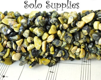 """36 Inches Yellow """"Turquoise"""" Chip Beads Natural Serpentine Stone Beads in Lemon Lime and Dark Greens"""