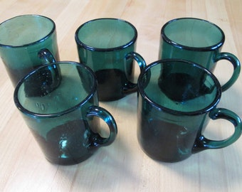 "Set of 5 Vintage Hand Blown Mugs Ancient Blue 4"" high by French Glass Artisans"