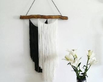 Yarn wall hanging, Modern Bohemian Wall tapestry, Black and white macrame, Boho wall decor, Boho garland