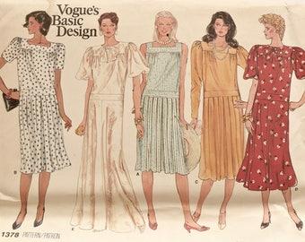 Vogue 1378 Sewing Pattern Vintage 1980s Dress Mid-Calf or Evening Length Dropped Waist Sleeve Variations Vogue's Basic Design Uncut FF Sz 10