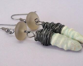 Light Blue Earrings, Artisan Ceramic Earrings, Rustic Turquoise Blue Earrings, Gray Sea Glass Earrings, Boho Jewelry, Pastel Earrings, Gift