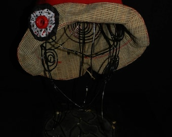 Red cotton/polyester Tulip shape winter hat.