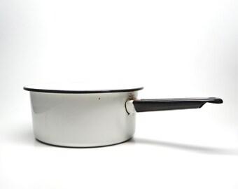 Vintage Enamelware Cooking Pot with Handle White Black Rim