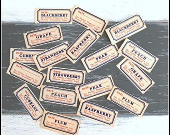 Vintage Gummed Label Assortment - Marking Labels - Vegetable Fruit Labels - Blue & Red Labels