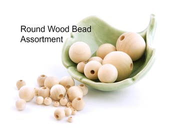 Round Wood Bead Assortment - 80 unfinished wooden beads