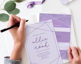 30 Light Violet Crystal Wedding Invitation Sets