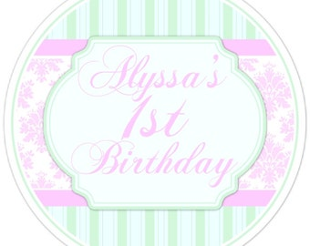 Shabby Chic Birthday Labels, Pink and Green Damask, Personalized 1st Birthday Stickers, Birthday Decoration, Damask Party Favors