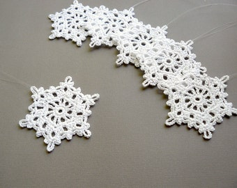 Christmas Decor -- 6 Large Crochet Snowflakes -- Snowflake B50, in White