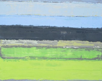Abstract oil painting, abstract landscape, horizontal lines, horizon line painting, sky painting