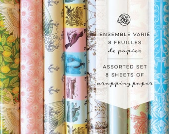 Assorted set of 8 wrapping sheets by Rose Papier Ciseaux // Gift Wrapping, Birthday, Wedding, Baby Shower, Anchor, Vintage, Illustration