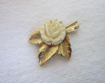 Vintage White Rose & Leaf Necklace Pendant